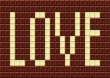 Chocoladereep met de woordliefde. Royalty-vrije Stock Afbeelding