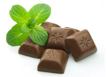 Chocoladereep met munt Royalty-vrije Stock Foto