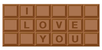 Chocoladereep voor valentijnskaart Stock Afbeelding