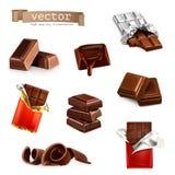 Chocoladerepen en stukken Royalty-vrije Stock Afbeeldingen