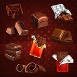 Chocoladerepen en stukken stock illustratie