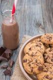 Chocoladeschilfer coockies met kakao Royalty-vrije Stock Afbeeldingen