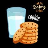 Chocoladeschilferkoekjes en glas hete melk Gebakken broodproduct vector illustratie