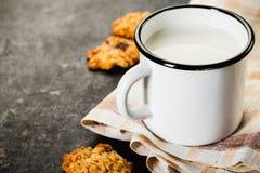 Chocoladeschilferskoekje en melk Royalty-vrije Stock Afbeelding