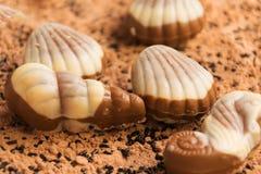 Chocoladeshells strandzand Stock Foto's