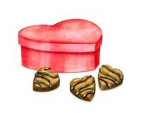 Chocoladesnoepjes met doos De illustratie van de waterverf Royalty-vrije Stock Afbeelding