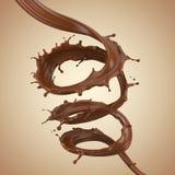 Chocoladespiraal, Chocolade of bruine vloeibare plons Stock Afbeelding
