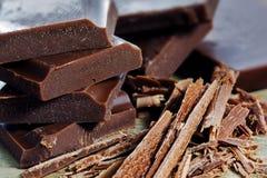 Chocoladestukken en spaanders Royalty-vrije Stock Afbeelding