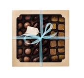 Chocoladesuikergoed in een giftdoos Royalty-vrije Stock Afbeeldingen