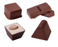Chocoladesuikergoed op witte achtergrond wordt geïsoleerd die Stock Afbeelding