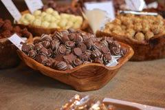 Chocoladesuikergoed - voedselmarkt Stock Foto
