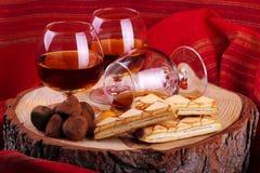 Chocoladetruffel en cognac Stock Afbeelding