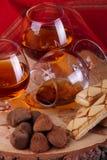 Chocoladetruffel en cognac Royalty-vrije Stock Foto
