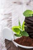 Chocolage, Minze und Kakao Stockfotografie