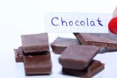 Chocolat,英国巧克力词的法国词 免版税库存照片
