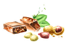 Chocolat avec des arachides illustration stock