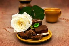 Chocolat avec la rose de blanc Image stock