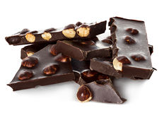 Chocolat avec le plan rapproché nuts d'isolement Photographie stock