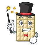 Chocolat blanc d'isolement par magicien avec dans le caractère illustration libre de droits