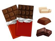 Chocolat blanc et foncé Photos de vecteur de différents morceaux de chocolat illustration libre de droits