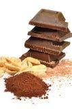 Chocolat, cacao et noisettes Photographie stock libre de droits