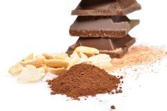 Chocolat, cacao et noisettes Photo libre de droits