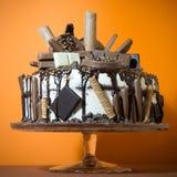A chocolat cake. On An Orange background Royalty Free Stock Photos