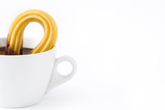 Chocolat chaud avec des churros Petit déjeuner espagnol Photographie stock libre de droits