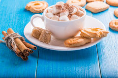 Chocolat chaud avec des guimauves Photographie stock libre de droits