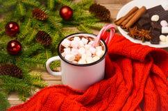 Chocolat chaud avec des guimauves Photographie stock