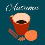 Chocolat chaud avec l'orange et la cannelle dans la tasse Photo stock