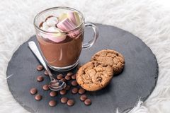 Chocolat chaud avec la guimauve image stock