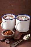 Chocolat chaud avec la mini boisson d'hiver de cannelle de guimauves Photo stock