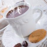 Chocolat chaud avec le biscuit Images stock