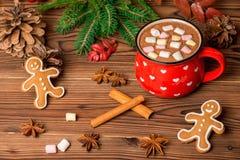 Chocolat chaud avec les sucreries de guimauve, biscuits de pain d'épice sur W Photo stock