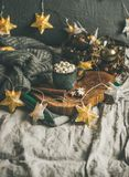 Chocolat chaud d'hiver de Noël avec les marshmellows et la cannelle, l'espace de copie images libres de droits