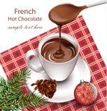 Chocolat chaud dans une tasse sur le vecteur de fond de vintage Boisson de Pourring Décors français de style Photos stock