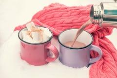 Chocolat chaud de versement dans la tasse Photographie stock