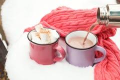 Chocolat chaud de versement dans la tasse Photographie stock libre de droits