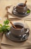 Chocolat chaud en bon état dans des deux tasses avec de la cannelle Photo stock