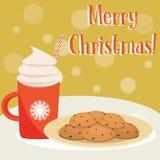 Chocolat chaud et biscuits Photographie stock