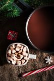 Chocolat chaud foncé dans un pot et une tasse avec du chocolat chaud et le blanc Photo libre de droits