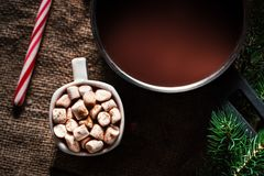 Chocolat chaud foncé dans un pot et une tasse avec du chocolat chaud et le blanc Image stock