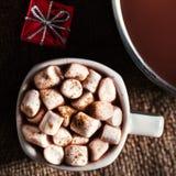 Chocolat chaud foncé dans un pot et une tasse avec du chocolat chaud et le blanc Photos libres de droits