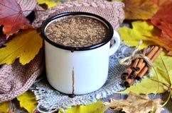 Chocolat chaud sur le fond d'automne photographie stock