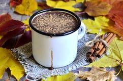 Chocolat chaud sur le fond d'automne photos stock