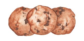 Chocolat Chip Cookies Illustration tirée par la main de nourriture d'aquarelle illustration libre de droits