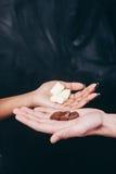 Chocolat dans des mains blanches et noires, contraste de couleur Photo stock