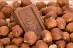 Chocolat dans les hazenuts Images stock