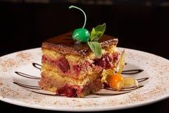 Chocolat de gâteau au fromage de cerise Images stock